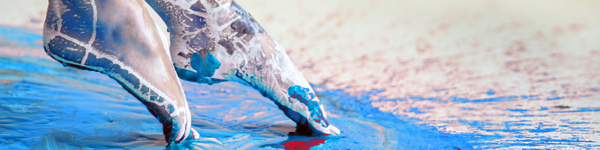 UConn Online Arts Leadership and Cultural Management Graduate Certificate image of dancer's foot in paint.